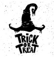 trick or treat hand drawn lettering phrase vector image