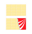 white chocolate bar icon set opened red wrapping vector image vector image