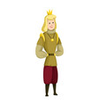 young sartoon king wearing crown and mantle color vector image vector image