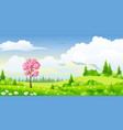 spring landscape with blossoming tree vector image