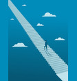 businessman walking up on endless stair vector image