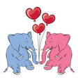 a cheerful pink elephant with balloons in the vector image vector image