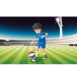 A soccer player kicking the ball with the flag of vector image vector image