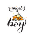 angel boy with bear on white background vector image