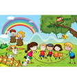 animals and kids vector image vector image