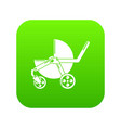 baby carriage modern icon green vector image vector image