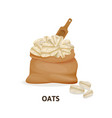 bag of oats culture wooden spoon agricultural vector image