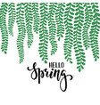 border frame branch leaves hello spring hand vector image