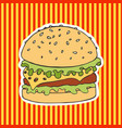 burger on a striped background hand drawing vector image vector image