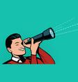 businessman looking through spyglass retro comic vector image