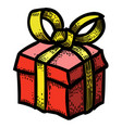 cartoon image of gift box icon present symbol vector image vector image