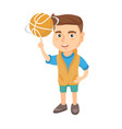 caucasian boy spinning basketball ball on finger vector image vector image