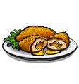 chicken kiev cutlet vector image vector image