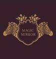 creative emblem of the magic mirrorzebra vector image vector image