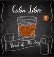 cuba libre cocktail hand drawn drink on white vector image vector image