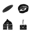 cucumber onion and other web icon in black style vector image vector image