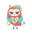 cute cartoon flirtatious owl bird colorful vector image