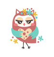 cute cartoon flirtatious owl bird colorful vector image vector image