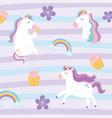 cute magical unicorns fantansy dream rainbow vector image vector image