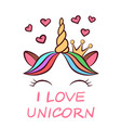 cute unicorn characters princess vector image