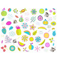 fruits vegetables mix clip art colorful collection vector image vector image