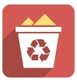 Full Recycle Bin Flat Rounded Square Icon with vector image vector image