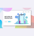 gadget touchscreen safety landing page template vector image vector image
