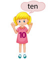 girl showing number seven vector image vector image