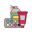 graphic design spary color tool tube and palette vector image