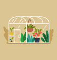 greenhouse with plants and vegetables inside vector image
