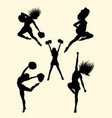 happy dancer cheerleader silhouette vector image vector image