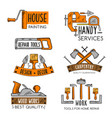 icons template of home repair handy service vector image vector image