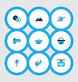 journey icons colored set with pointers ski cabin vector image