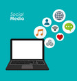 laptop social media applications digital vector image