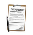 lease home rent blank document lease vector image vector image