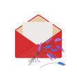 letter in open red envelope with bouquet of vector image vector image