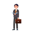 man in formal wear with list of paper businessman vector image vector image