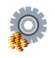 money coins dollar gear vector image vector image