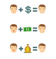 money makes you smile set vector image vector image