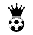 monochrome soccer ball with crown vector image vector image
