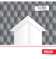 paper origami house icon on 3d cube vector image vector image