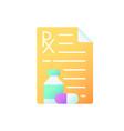 prescription flat color icon vector image vector image