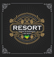 resort and residence logo vintage luxury banner vector image vector image