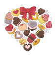romantic heart is made of different desserts vector image vector image