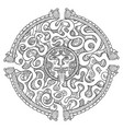 round mayan maze game puzzle labyrinth path vector image