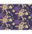 seamless floral pattern with hand drawn of violet vector image