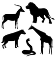 Set 2 of african animals silhouettes vector image vector image