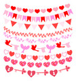 set garlands for valentines day vector image