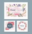 Set of invitation cards with colorful flowers 4 vector image vector image