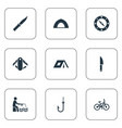 set of simple camp icons vector image
